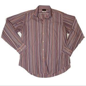 Thomas Dean Striped Button Down Shirt